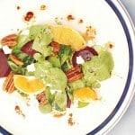 Arugula salad with beets and gorgonzola cheese, pecans