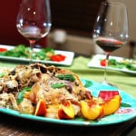 Slow cooker whole chicken with peaches, capers, rice