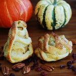 Halloween apple and pear mummy treats