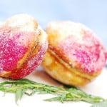 Peach shaped sandwich cookies with dulce de leche filling