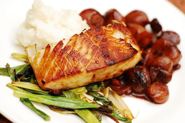 Black Cod With Balsamic Shallot Sauce And Mashed Potatoes