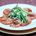 Garlic spicy shrimp and asparagus pasta