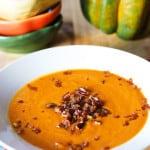 Pumpkin coconut soup with caramelized pecans