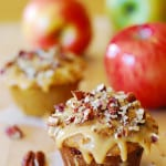 whole wheat banana bread muffins with apples and pecans