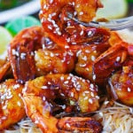 Shrimp teriyaki over rice noodles
