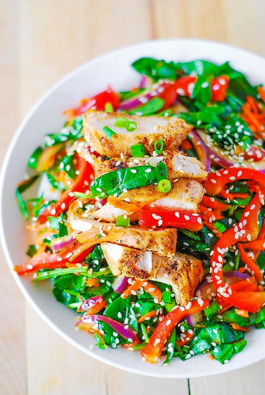 Asian chicken salad with ginger sesame dressing