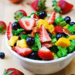 Broccoli salad with strawberries, mango, and bacon