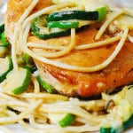 Grilled Salmon and Parmesan Zucchini Pasta
